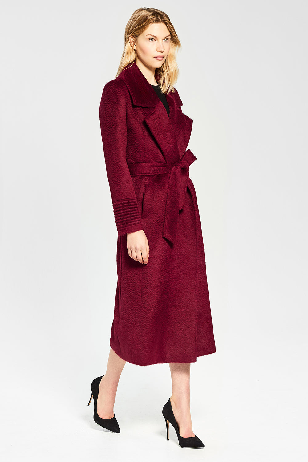 Sentaler Suri Alpaca Long Notched Collar Wrap Coat featured in Suri Alpaca and available in Bordeaux. Seen from side.