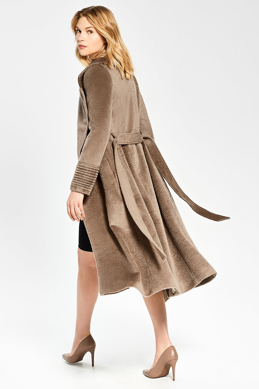 Sentaler Suri Alpaca Long Notched Collar Wrap Coat featured in Suri Alpaca and available in Hazelnut. Seen in action.