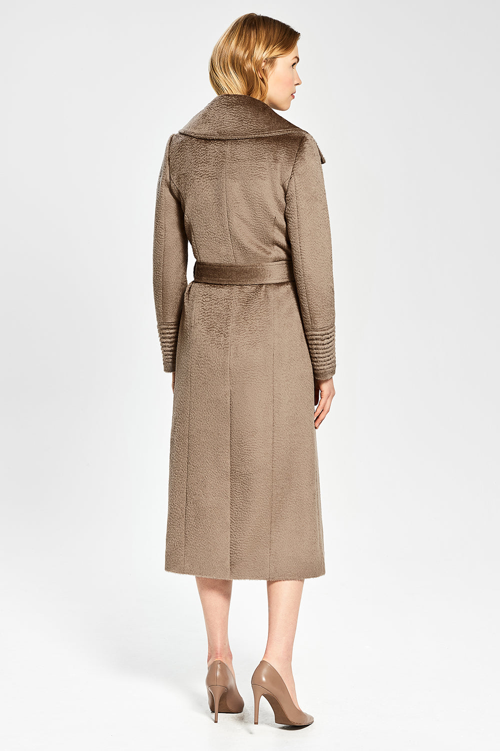 Sentaler Suri Alpaca Long Notched Collar Wrap Coat featured in Suri Alpaca and available in Hazelnut. Seen from back.