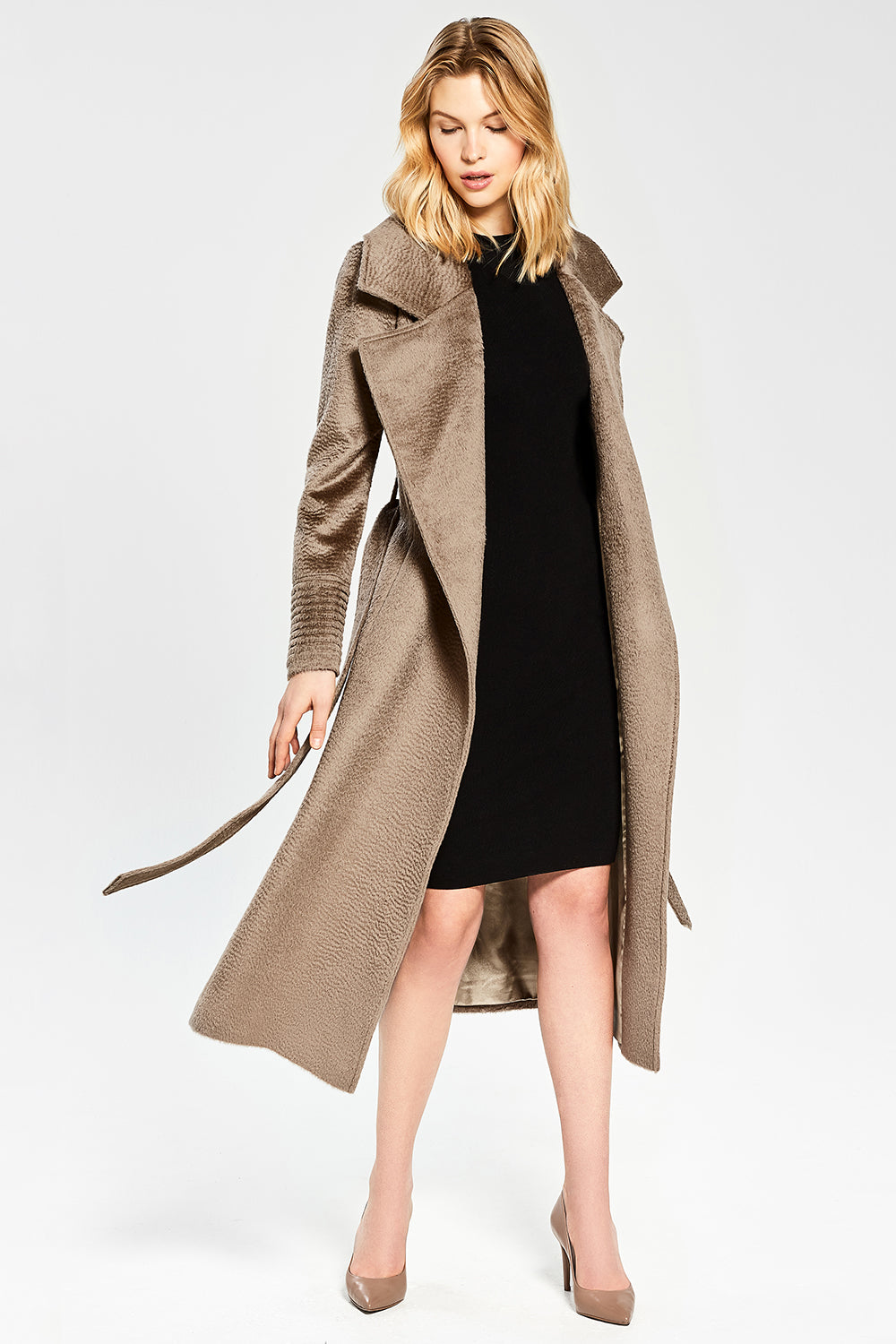 Sentaler Suri Alpaca Long Notched Collar Wrap Coat featured in Suri Alpaca and available in Hazelnut. Seen open.