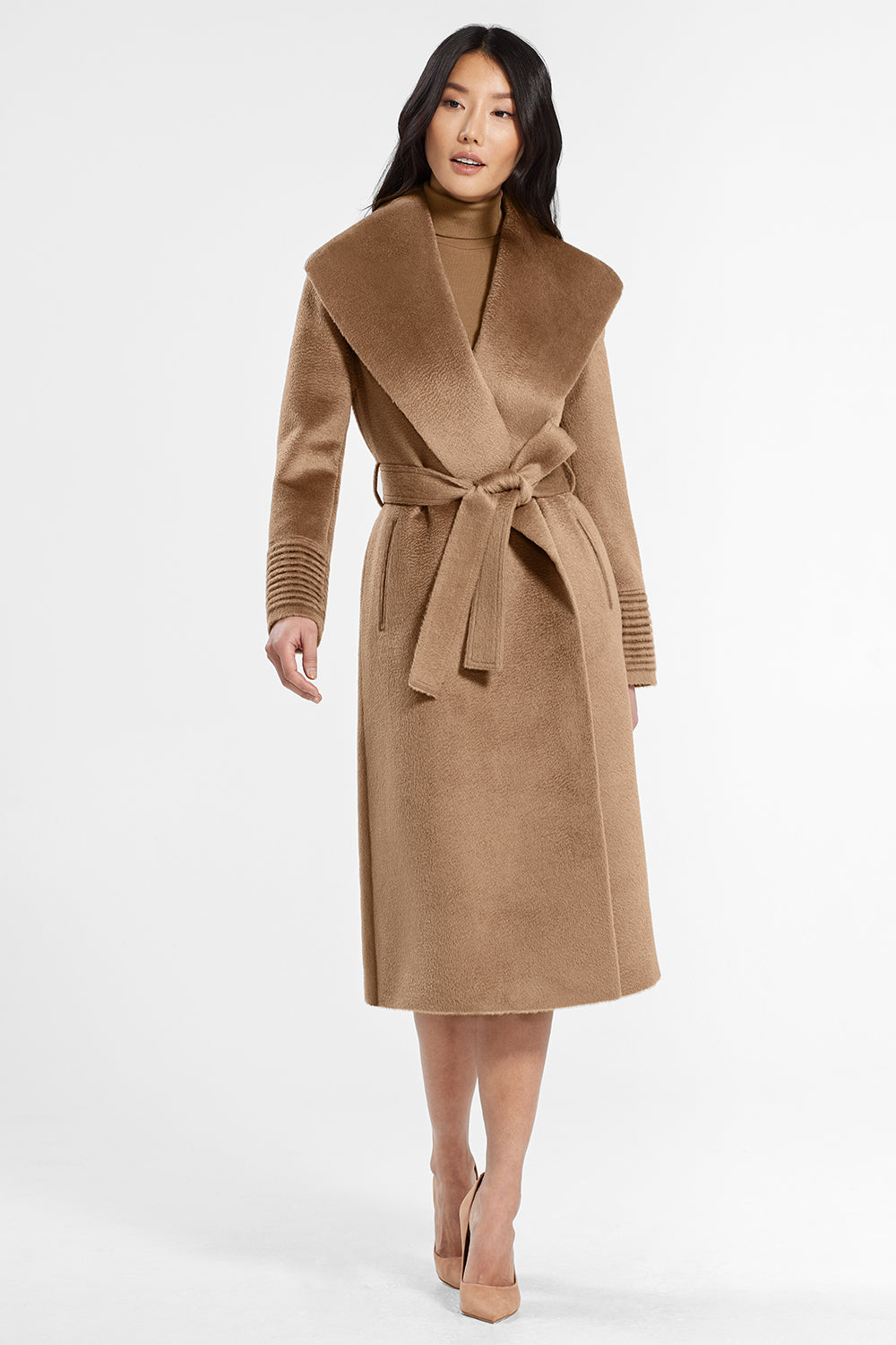 Sentaler Suri Alpaca Long Shawl Collar Wrap Coat featured in Suri Alpaca and available in Dark Camel. Seen from front..