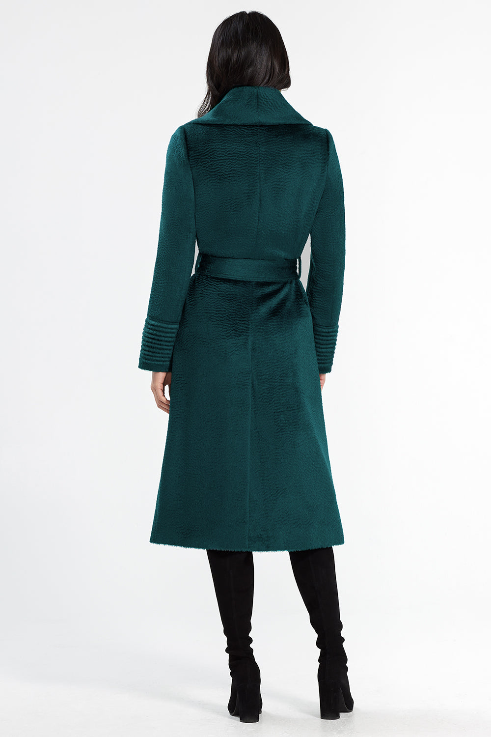 Sentaler Suri Alpaca Long Shawl Collar Wrap Coat featured in Suri Alpaca and available in Emerald Green. Seen from back.