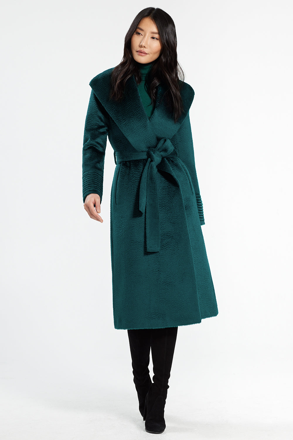 Sentaler Suri Alpaca Long Shawl Collar Wrap Coat featured in Suri Alpaca and available in Emerald Green. Seen from front.