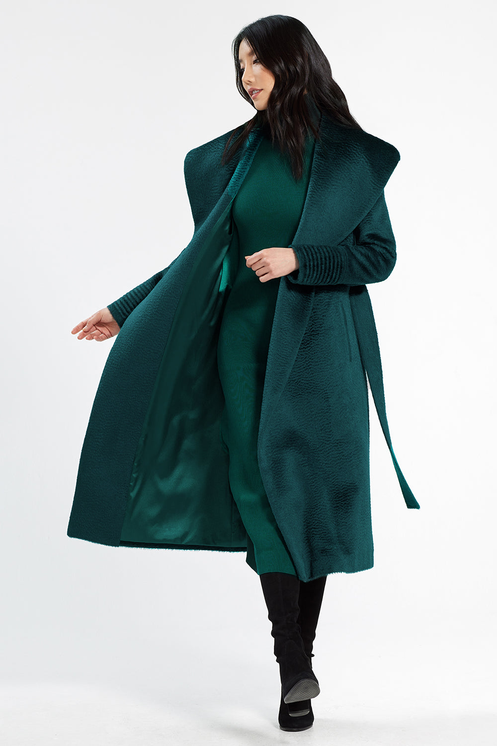 Sentaler Suri Alpaca Long Shawl Collar Wrap Coat featured in Suri Alpaca and available in Emerald Green. Seen open.