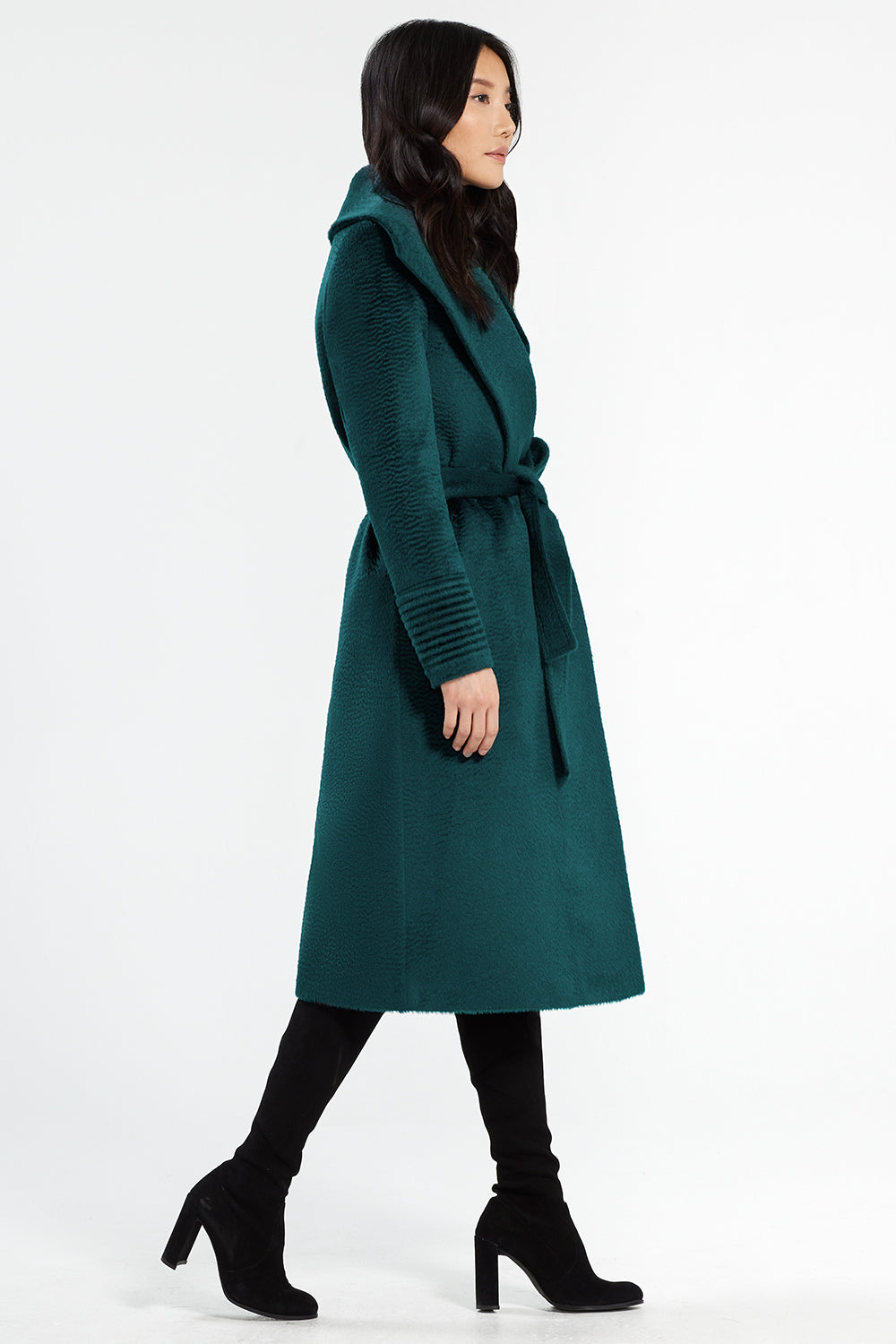 Sentaler Suri Alpaca Long Shawl Collar Wrap Coat featured in Suri Alpaca and available in Emerald Green. Seen from side.