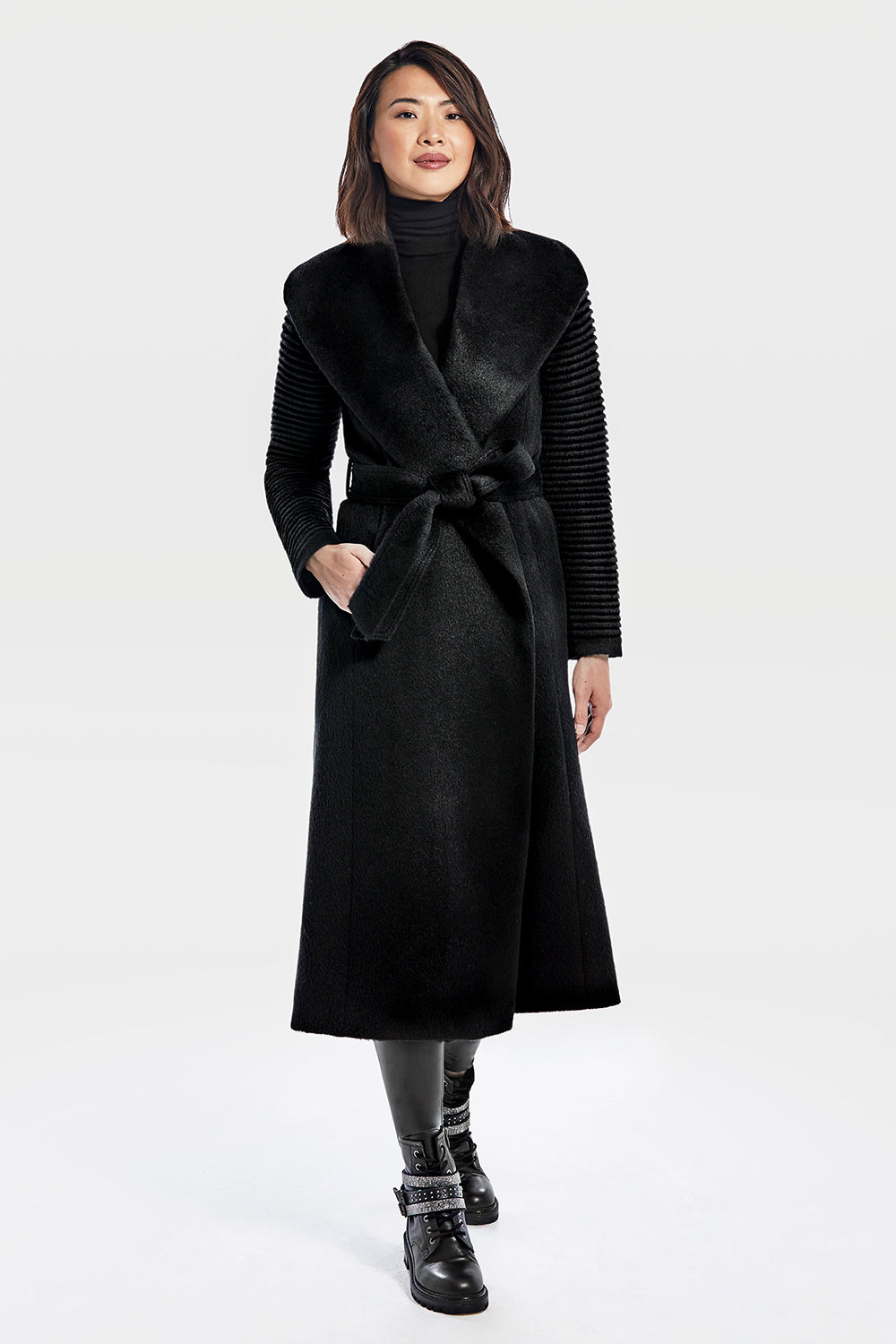 Sentaler Suri Alpaca Long Shawl Collar Wrap Coat with Ribbed Sleeves featured in Suri Alpaca and available in Black. Seen from front.