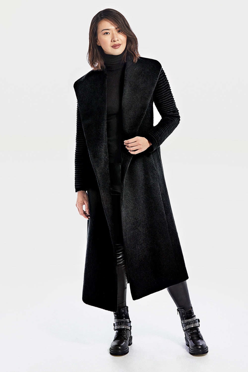Sentaler Suri Alpaca Long Shawl Collar Wrap Coat with Ribbed Sleeves featured in Suri Alpaca and available in Black. Seen open.