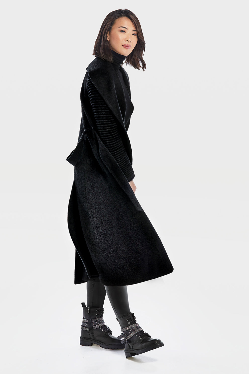 Sentaler Suri Alpaca Long Shawl Collar Wrap Coat with Ribbed Sleeves featured in Suri Alpaca and available in Black. Seen from side.