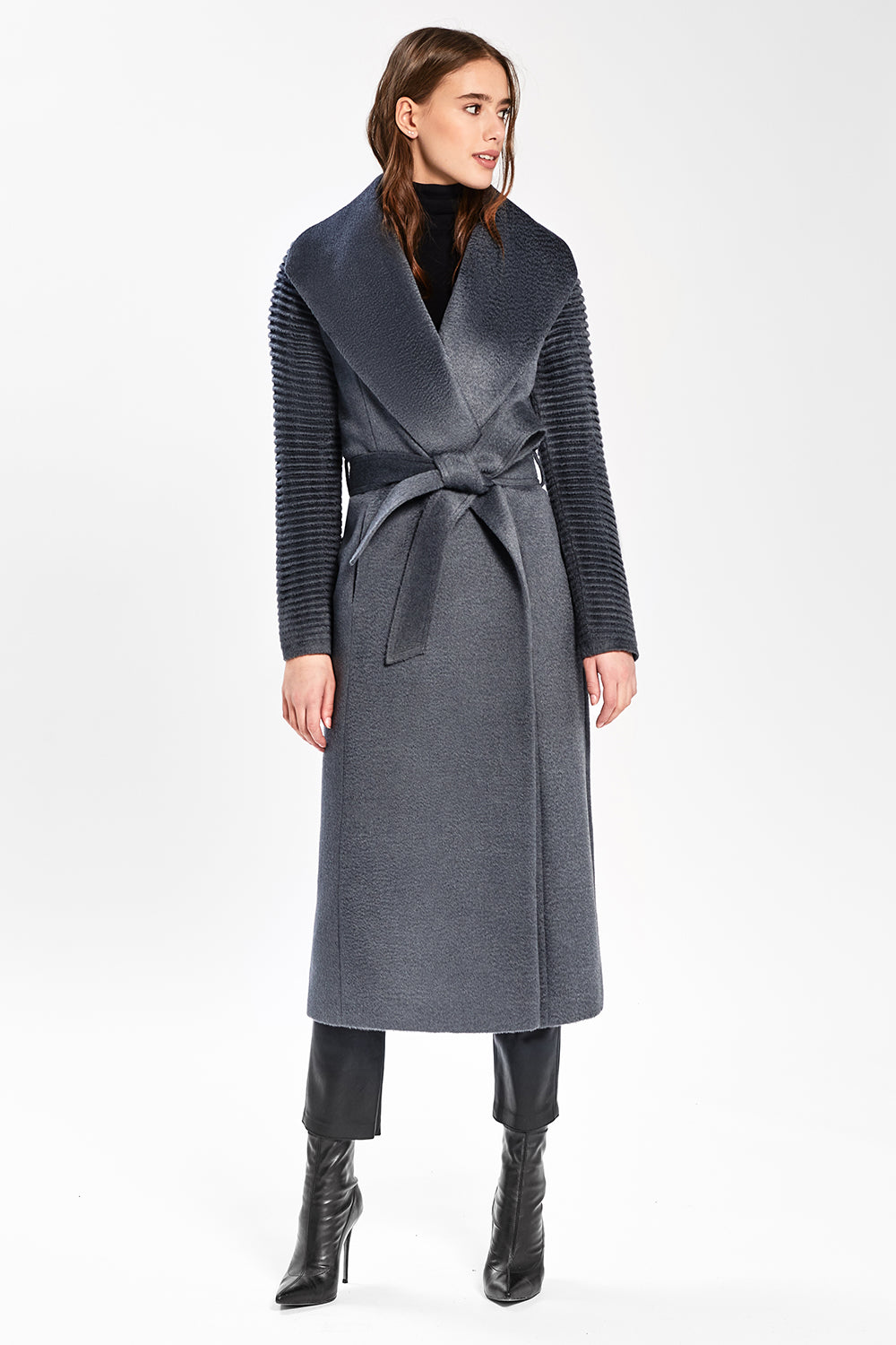 Sentaler Suri Alpaca Long Shawl Collar Wrap Coat with Ribbed Sleeves featured in Suri Alpaca and available in Charcoal. Seen from front.