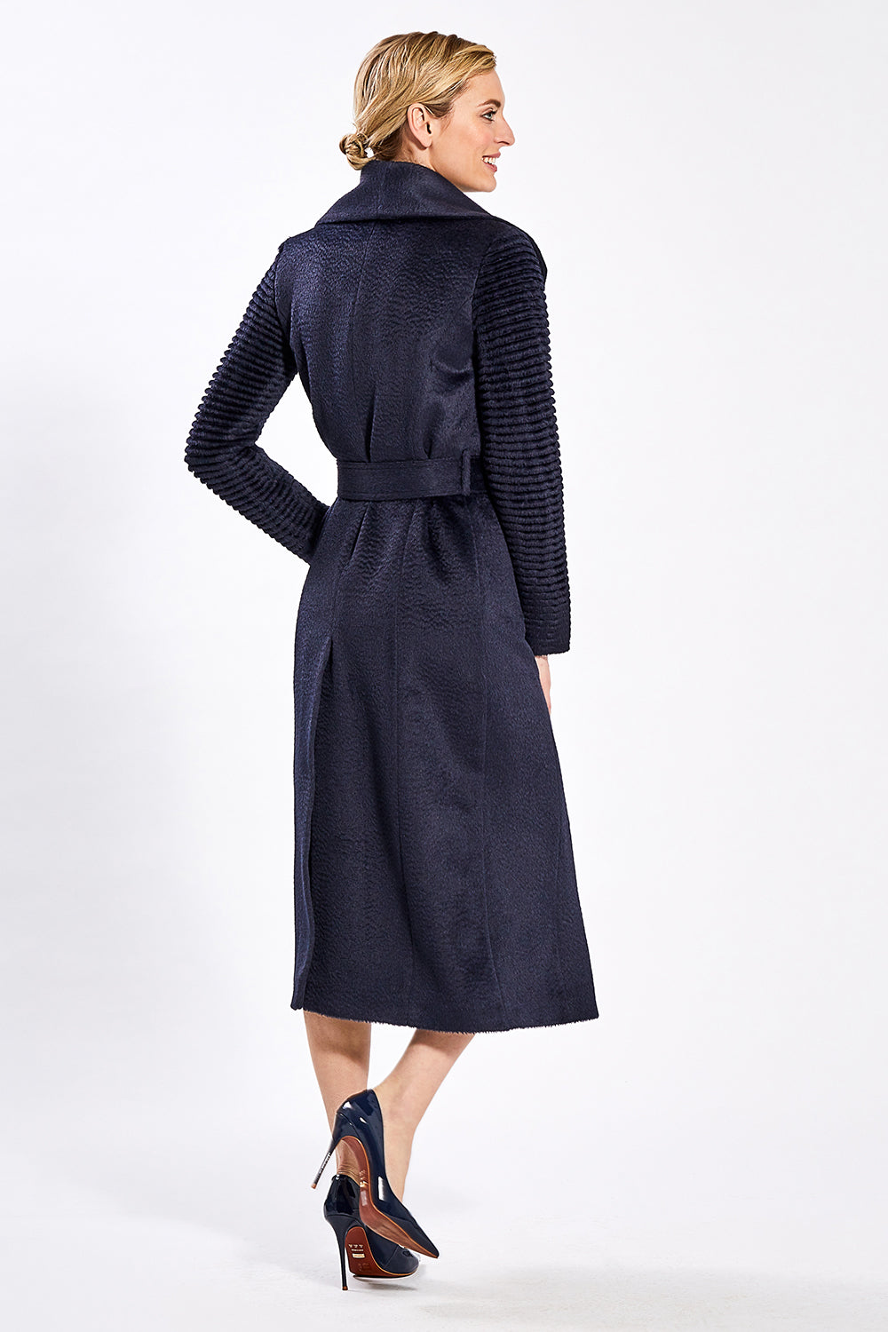 Sentaler Suri Alpaca Long Shawl Collar Wrap Coat with Ribbed Sleeves featured in Suri Alpaca and available in Navy. Seen from back.