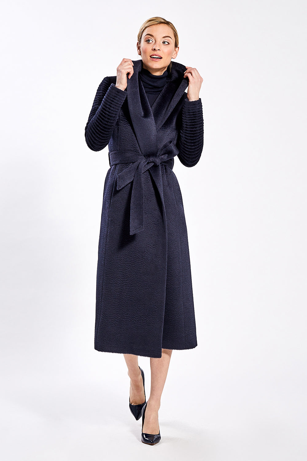 Sentaler Suri Alpaca Long Shawl Collar Wrap Coat with Ribbed Sleeves featured in Suri Alpaca and available in Navy. Seen from front.