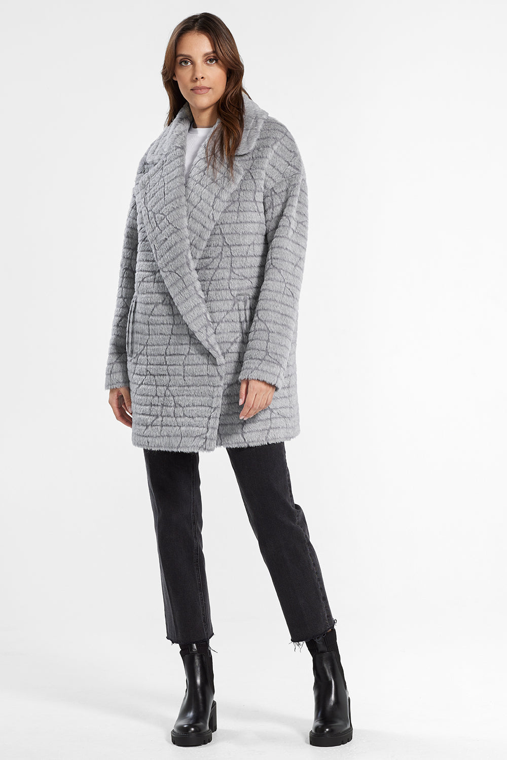 Sentaler Suri Alpaca Mid Length Oversized Notched Collar Coat featured in Suri Alpaca and available in Grey. Seen from front.