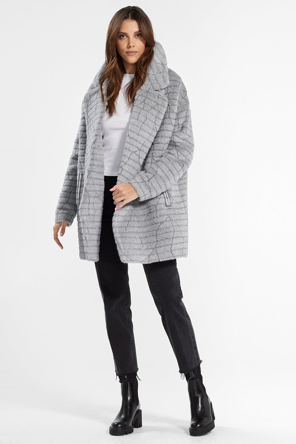 Sentaler Suri Alpaca Mid Length Oversized Notched Collar Coat featured in Suri Alpaca and available in Grey. Seen open.