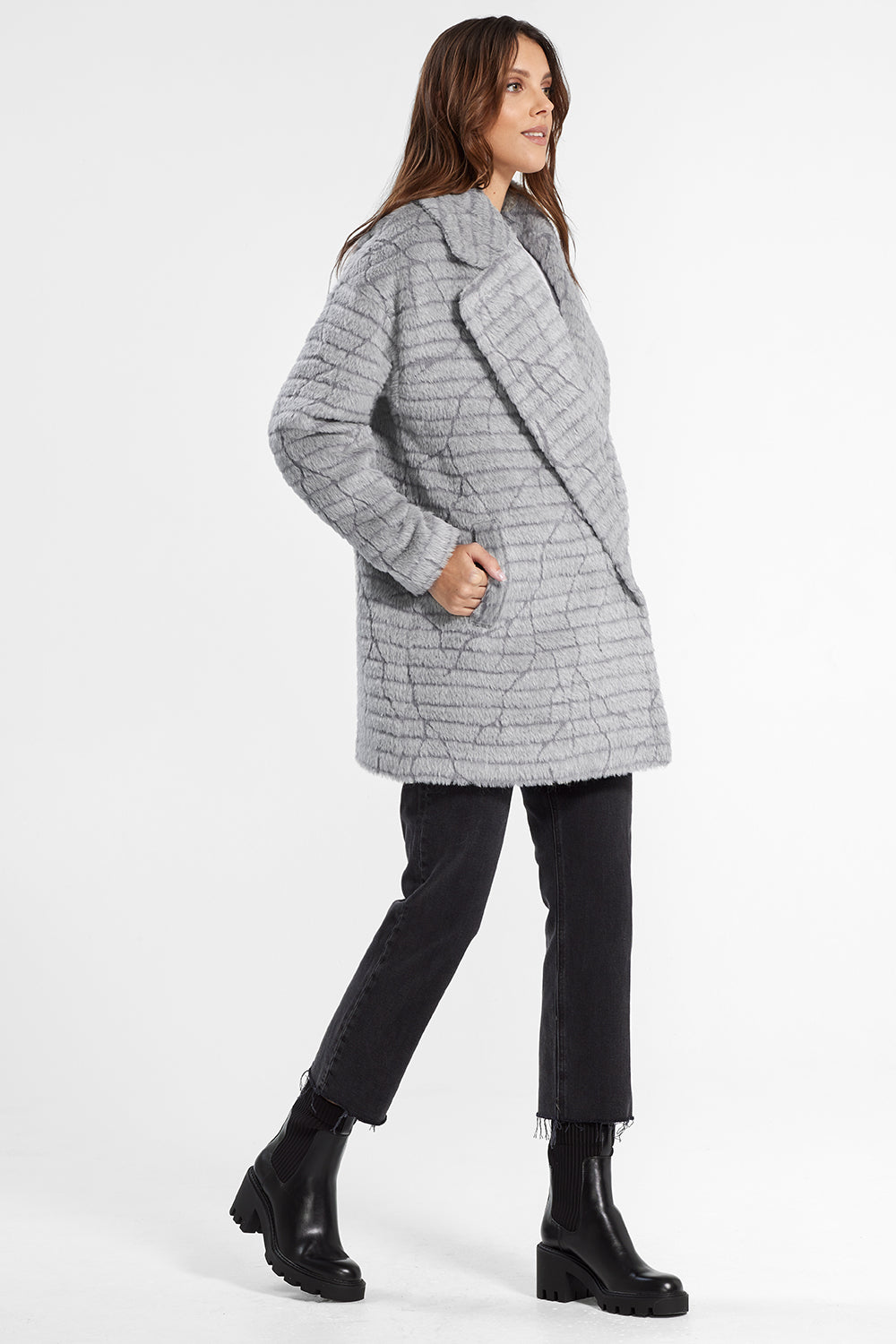 Sentaler Suri Alpaca Mid Length Oversized Notched Collar Coat featured in Suri Alpaca and available in Grey. Seen from side.