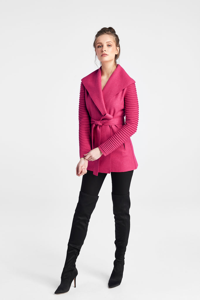 Wrap Coat with Ribbed Sleeves, Atomic Cerise