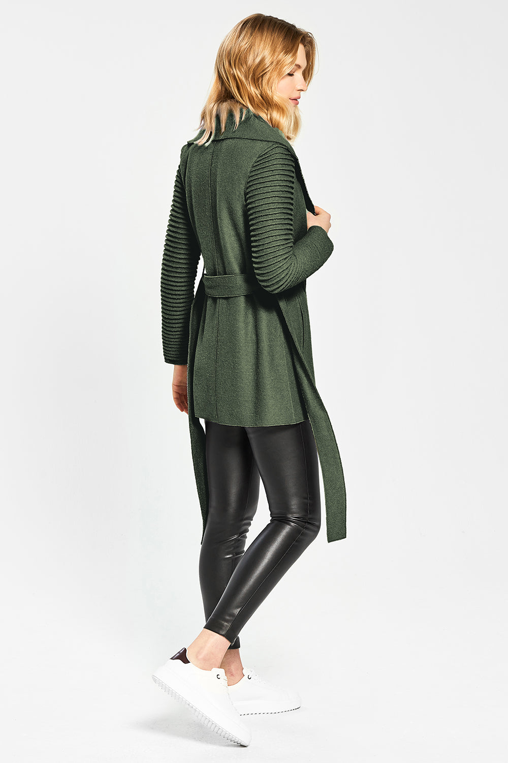 Sentaler Wrap Coat with Ribbed Sleeves featured in Superfine Alpaca and available in Army Green. Seen in Action.