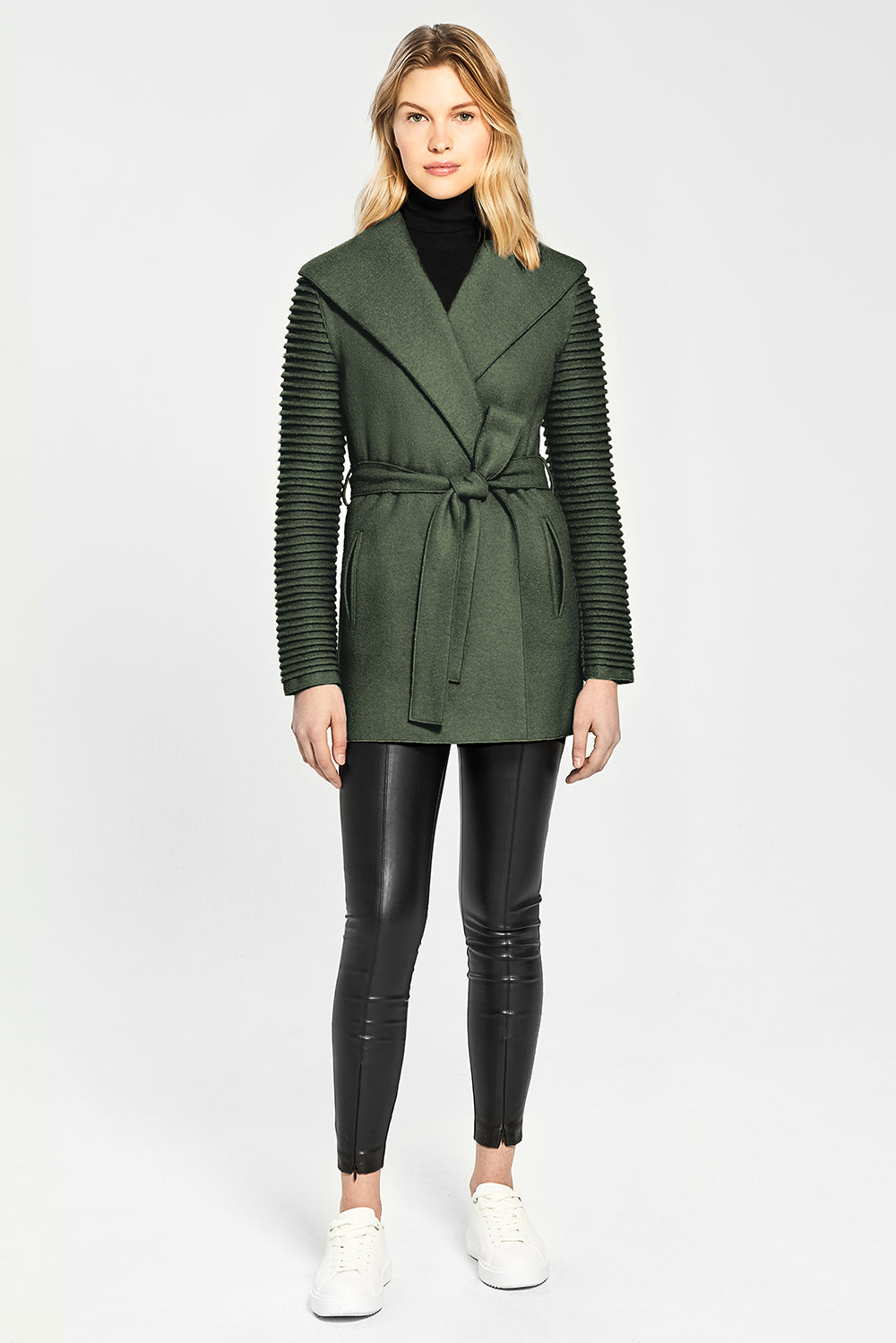 Sentaler Wrap Coat with Ribbed Sleeves featured in Superfine Alpaca and available in Army Green. Seen from Front.