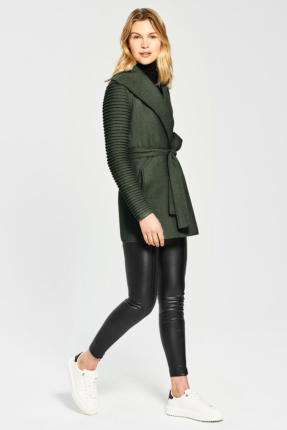 Sentaler Wrap Coat with Ribbed Sleeves featured in Superfine Alpaca and available in Army Green. Seen from Side.