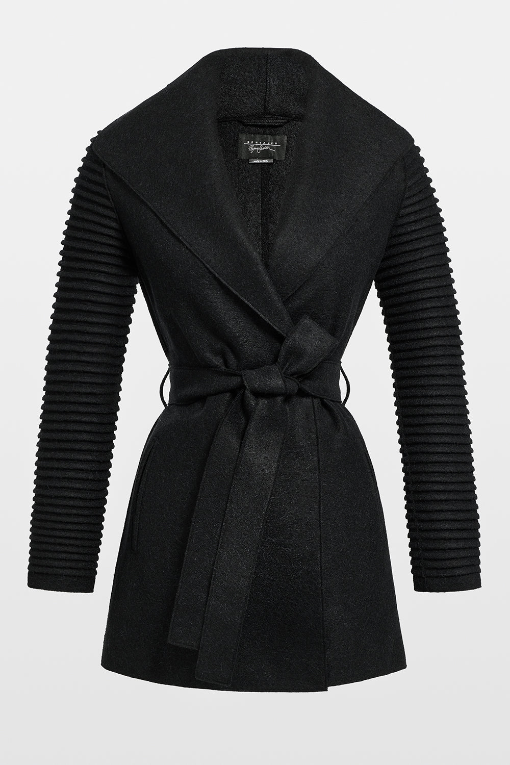 Sentaler Wrap Coat with Ribbed Sleeves featured in Superfine Alpaca and available in Black. Seen off model.