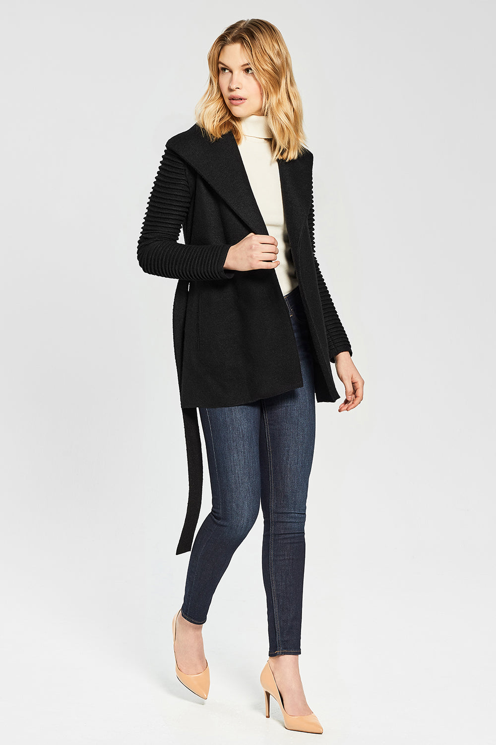 Sentaler Wrap Coat with Ribbed Sleeves featured in Superfine Alpaca and available in Black. Seen Open.