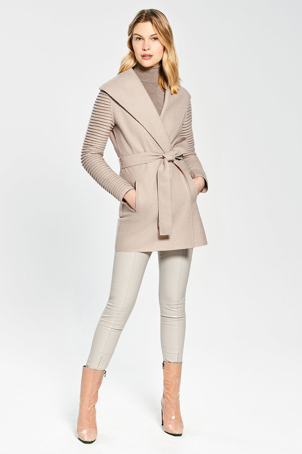 Sentaler Wrap Coat with Ribbed Sleeves featured in Superfine Alpaca and available in Chamois. Seen from front.