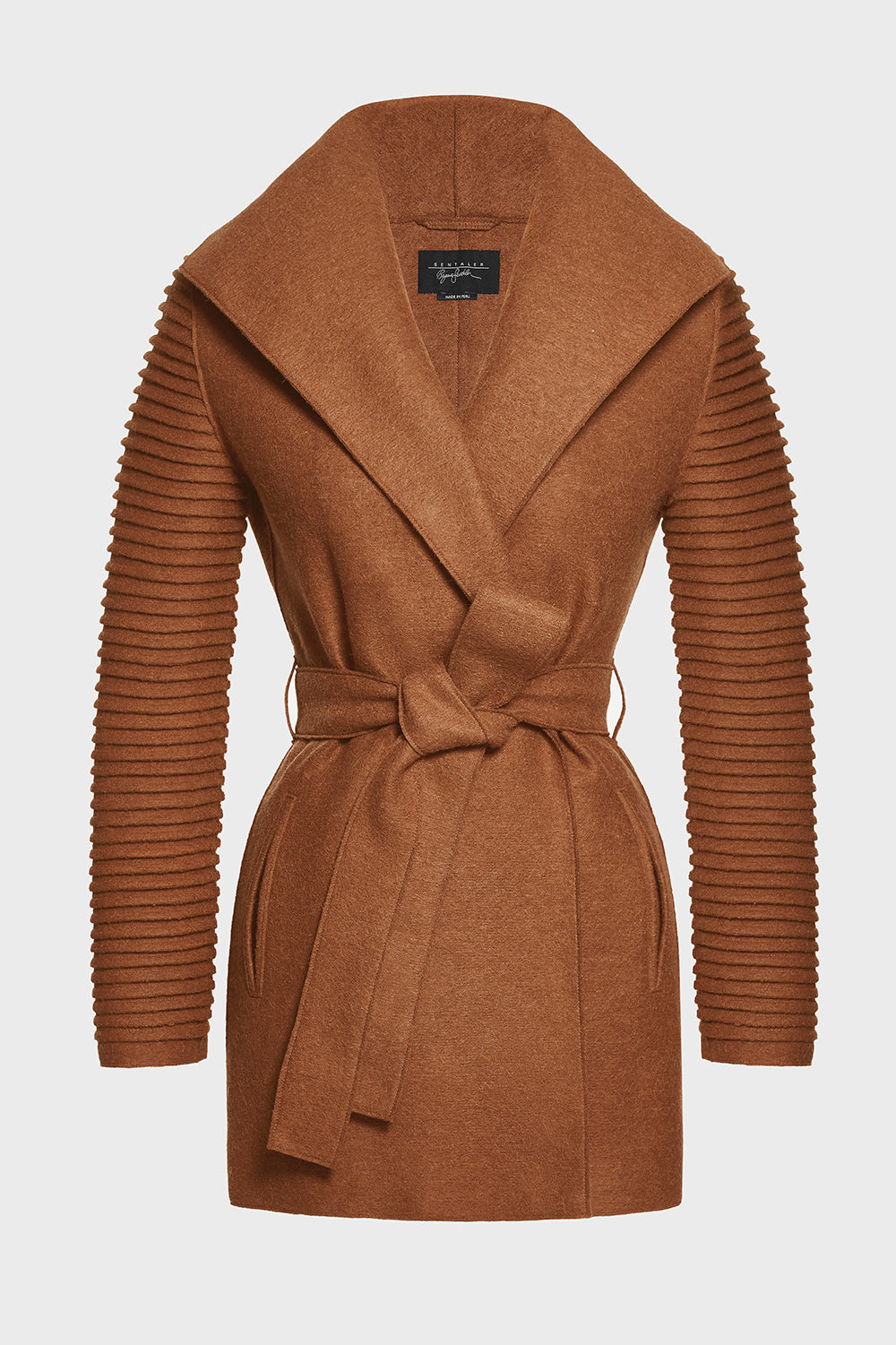 Sentaler Wrap Coat with Ribbed Sleeves featured in Superfine Alpaca and available in Dark Camel. Seen off model.