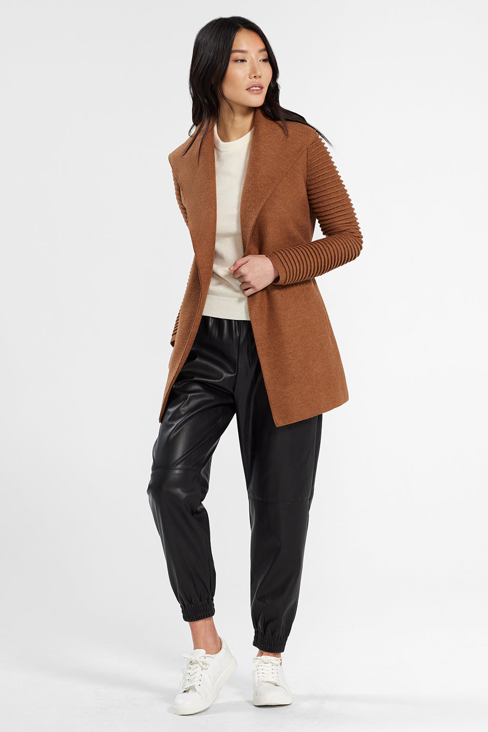 Sentaler Wrap Coat with Ribbed Sleeves featured in Superfine Alpaca and available in Dark Camel. Seen open.