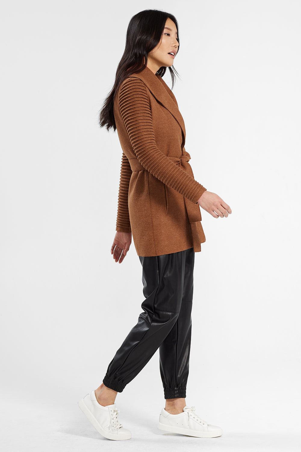 Sentaler Wrap Coat with Ribbed Sleeves featured in Superfine Alpaca and available in Dark Camel. Seen from side.