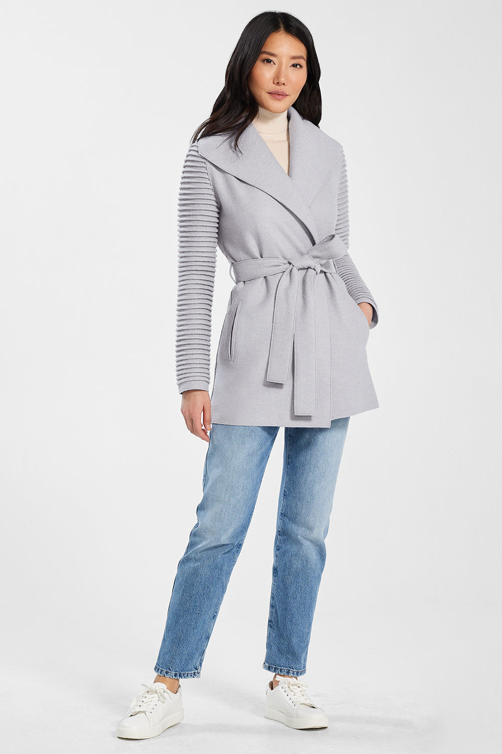 Sentaler Wrap Coat with Ribbed Sleeves featured in Superfine Alpaca and available in Opal Grey. Seen from front.
