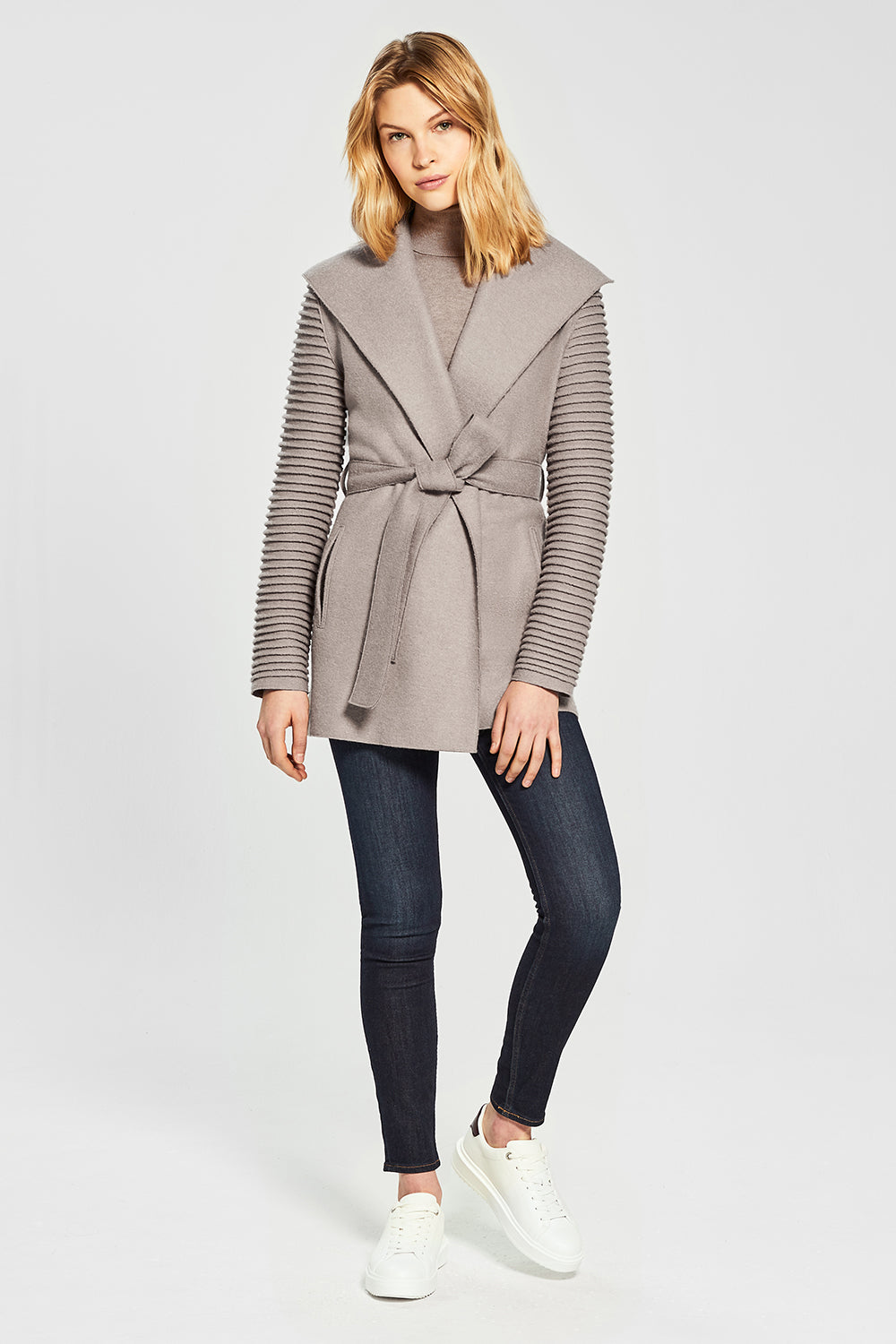 Sentaler Wrap Coat with Ribbed Sleeves featured in Superfine Alpaca and available in Simply Taupe. Seen from front.