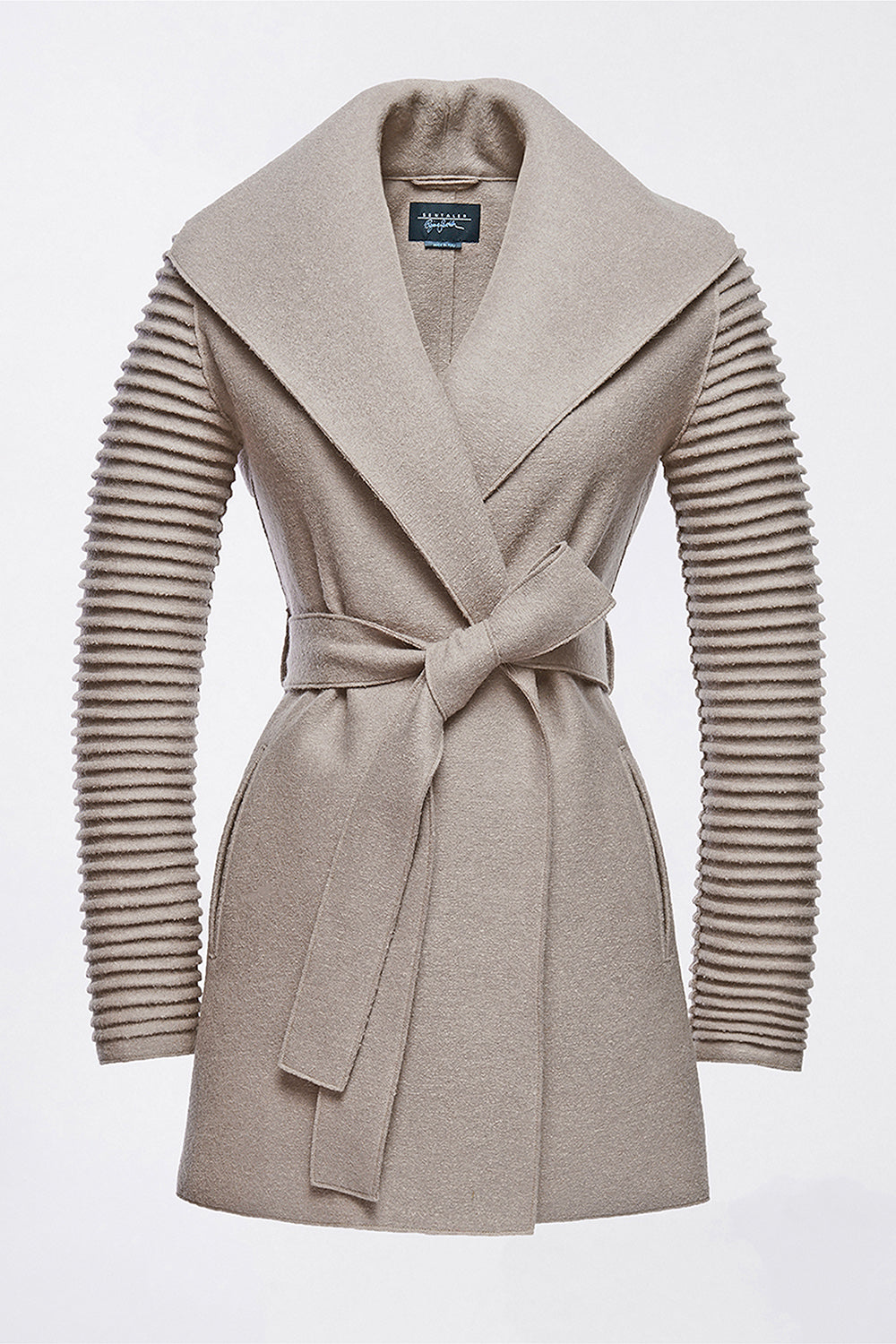 Sentaler Wrap Coat with Ribbed Sleeves featured in Superfine Alpaca and available in Simply Taupe. Seen off model.