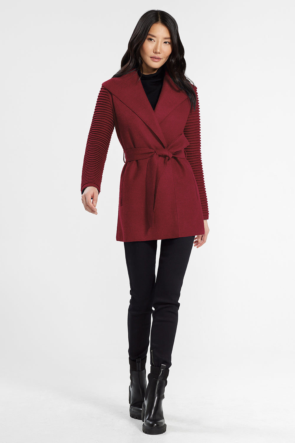 Sentaler Wrap Coat with Ribbed Sleeves featured in Superfine Alpaca and available in Wine. Seen from front.