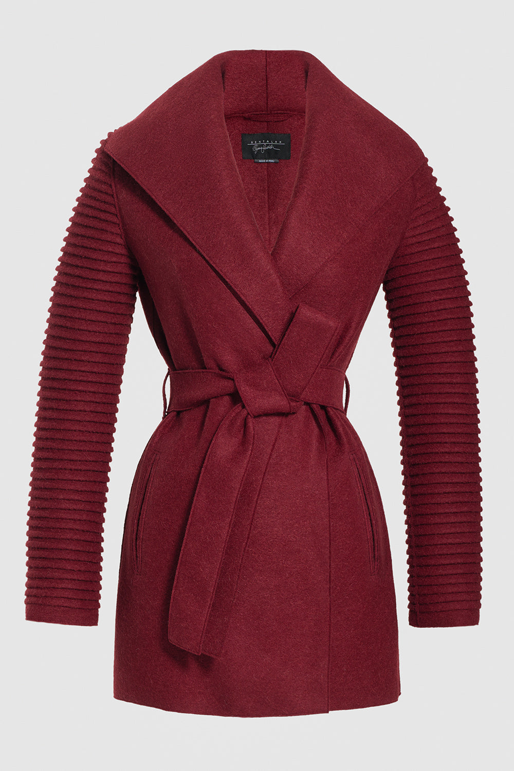 Sentaler Wrap Coat with Ribbed Sleeves featured in Superfine Alpaca and available in Wine. Seen off model.