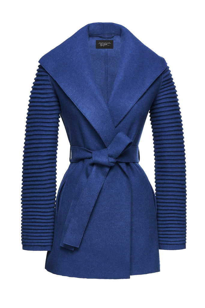 Wrap Coat with Ribbed Sleeves </br> True Blue FW17