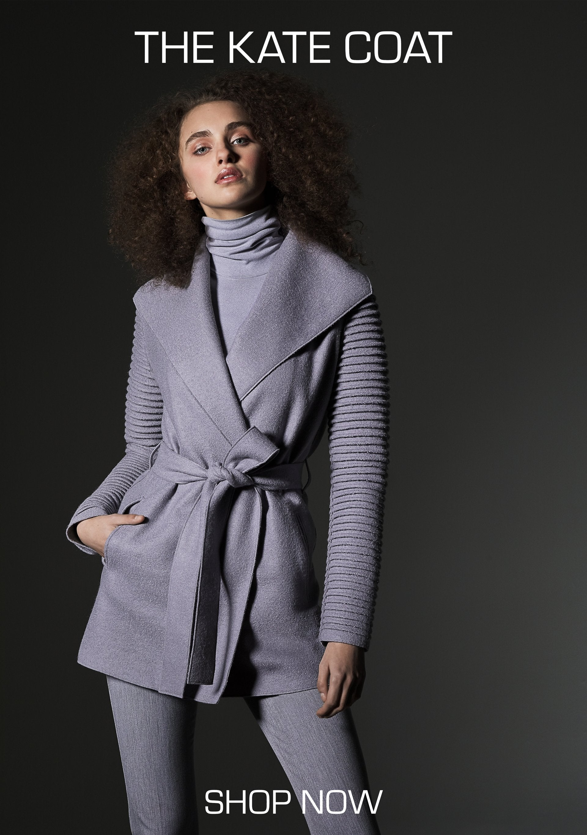 GULL GREY SIGNATURE WRAP COAT WITH RIBBED SLEEVES WORN BY THE DUCHESS OF CAMBRIDGE KATE MIDDLETON