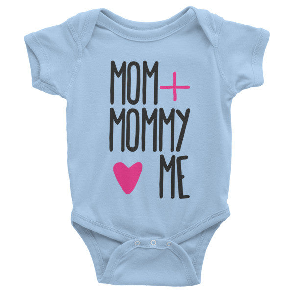 Mom + Mommy <3 Me short sleeve onesie