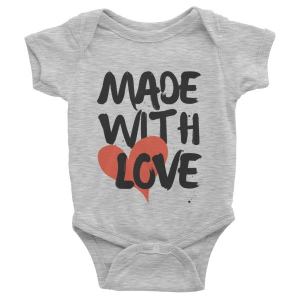 """MADE WITH LOVE"" short sleeve onesie"