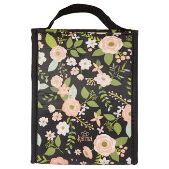 Charcoal Flower Lunch Sack