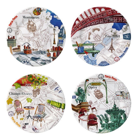 Gien - Paris Paris set of 4 canapes plates