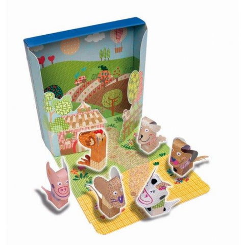 Cayro Paper Art Finger Puppets, Farm Animals
