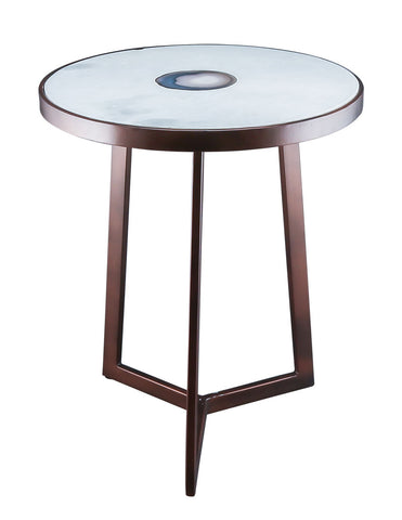 Iron Table with White Marble & Agate