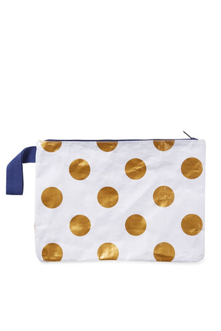 Project Ten - Gold Polka Dot Zip Pouch