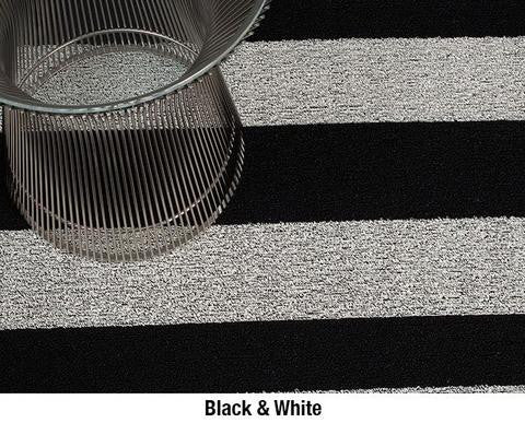 Chilewich Shag In Out Mat Bold Stripes 61x91cm - BLACK/WHITE