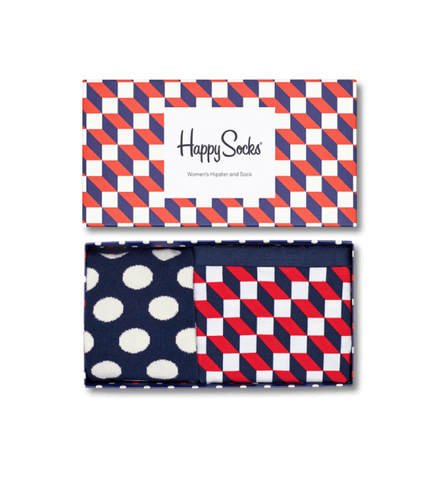 Happy Socks - Filled Optic Jersey Trunk Navy Red White - M