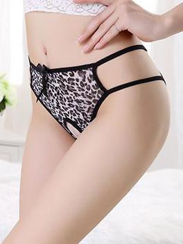 Leopard Print Crotchless Hipster Cutout Panty