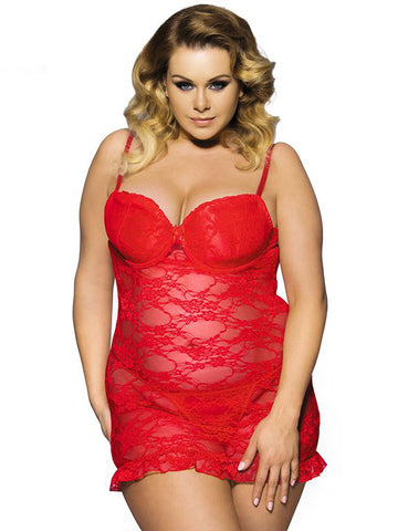 See-Through Lace Plus Size Slip Dress