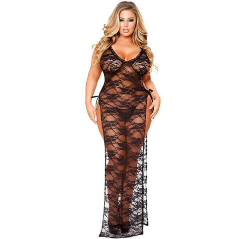 Plus Size Sheer Lacy Legless Cutout Gown