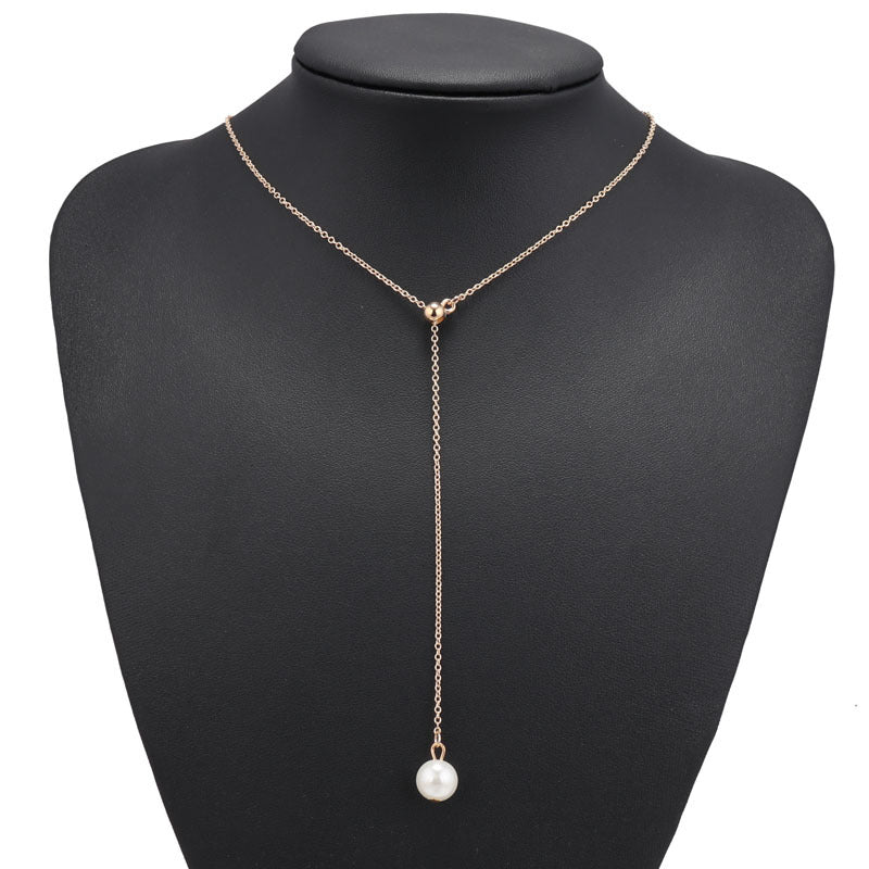 Single Faux Pearl Drop Necklace