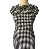 Black & White Houndstooth Ruffle Dress - Theone Apparel