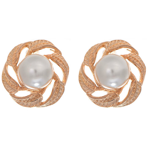 Swirling Gold and Pearl Earrings